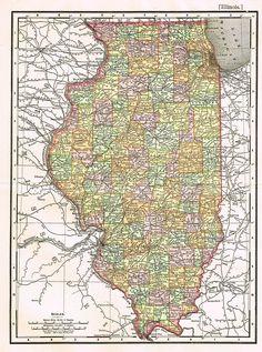 Rand Mcnally S Atlas Map Illinois Chromo Lithograph 1895