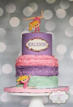Peggy Does Cake, Brandon, Mississippi ~ Gymnasts cake ~ Gymnastics cake ~ Tumbling cake ~ Buttercream ruffles cake