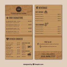 cardboaard back ground/seperated by darker lines Restaurant Menu Card, Menu Signage, Bakery Menu, Restaurant Menu Design, Restaurant Branding, Cafe Menu Design, Food Menu Design, Cafeteria Menu, Food Catalog
