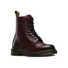 Dr. Martens Pascal 8 (595 RON) ❤ liked on Polyvore featuring shoes, boots, ankle booties, dr. martens, cherry red antique temperley, ankle bootie boots, leather bootie, leather ankle bootie, leather boots and leather booties