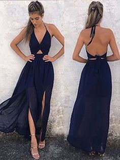 long prom dresses - Dark Navy Prom Dress,Two Piece Prom Dress,Chiffon Prom Dress,Backless Evening Dress Navy Blue Formal Dress, Navy Blue Prom Dresses, Princess Prom Dresses, Backless Prom Dresses, A Line Prom Dresses, Cheap Prom Dresses, Sexy Dresses, Dress Outfits, Evening Dresses