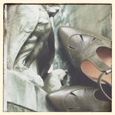 A photo within a photo. The photo is in #Argentina, the #shoes are #Fidji 'L533' t-strap pump at #norasshoeshop. #peepingsoles #buenosaires #cemetery #shoelover #shoeoftheday #instafashion #instagood #vsco #vscocam
