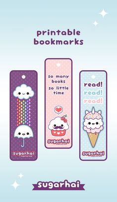 Make your own kawaii bookmarks with these free printables.