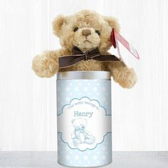 Baby Gift Idea -  Personalised Teddy in a Tin for Boys  - Lovely Present Idea for Newborn or Baby Shower