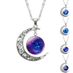 1 unids hollow luna y vidrio galaxy collares declaración colgantes de la cadena de plata 2016 nueva joyería de la manera collares amigo mejores regalos