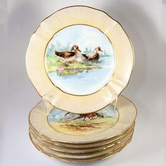 A beautiful set of hand painted fine old Limoges plates from the famed maker M. Iiu0027ve long been a fan of this maker and have numerous pieces & Charles Ahrenfeldt Limoges Gilt Encrusted Hand-Painted Cabinet ...