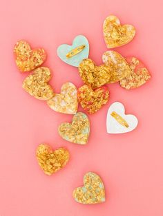 Learn how to make your own shimmery gold leaf heart brooches using just a few supplies! Click through for video tutorial. by Sarah Hearts