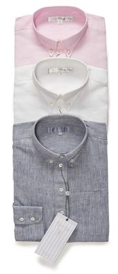 The His is Hers® Linen Shirt available from top to bottom in pink slipper, white and gray sky blue.