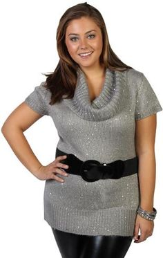 plus size sequined cowl neck tunic