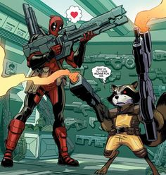 Deadpool & Rocket Team-Up Why had Marvel not announced the release date for this! Marvel Funny, Marvel Dc Comics, Marvel Heroes, Marvel Avengers, Comic Movies, Comic Book Characters, Comic Character, Comic Books, Fictional Characters