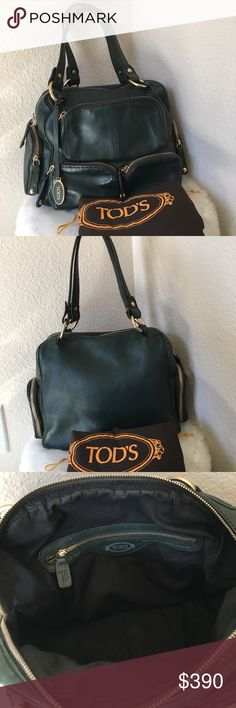 Authentic Tod's Forrest Green Satchel Bag Purse Authentic Tod's. In good used condition. Beautiful Luxury soft genuine leather made in Italy. A2615. Lots of exterior pockets and the main compartment with has 1 zipper pocket inside with Tod's logo markings. Tod's brown dustcover bag included. Tod's Bags Satchels