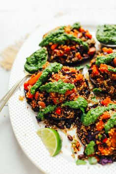 Quinoa & Vegetable Stuffed Portobello Mushrooms with Black Beans, Sweet Potatoes, Avocado, Cabbage & Lime
