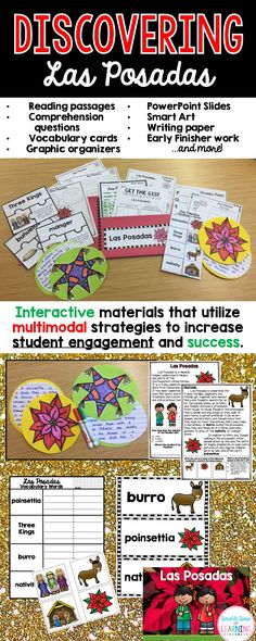 This holiday season, use informational texts and research of the history and traditions of Las Posadas for grades 1-3 by teaching a unit that integrates ELA and social studies at the same time! The materials in this unit are interactive and utilize multimodal strategies to increase student engagement and outcomes. The research unit is a comprehensive week long unit that integrates technology, vocabulary, writing, art, reading strategies and more!