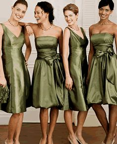 Bridal party - different dresses, same length and color (but i'd pick a different color) Pictures Of Bridesmaid Dresses, Olive Green Bridesmaid Dresses, Green Bridesmaids, Sage Dresses, Bridesmaid Color, Short Dresses, Davids Bridal Bridesmaid, Wedding Bridesmaid Dresses, Wedding Attire
