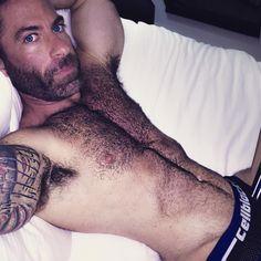 Ugh. Mornings are hard. #work #weekdays #travel #hotel #alarmclock #early #tired #gay #muscle #underwear #fur #furry #scruff #beard #tattoo #armpit