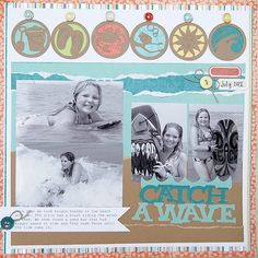 cricut, diy, scrapbook, scrapbooking, layout, single page, family, beach