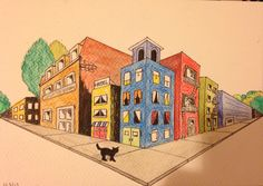Cat surveying a city. My attempt at two-point perspective drawing.