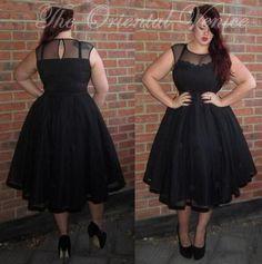 Vintage Tea Length Black Plus Size Cocktail Dresses Sheer Scoop Short Evening Party Gowns 2017 Cheap Vestido de Fiesta Curto
