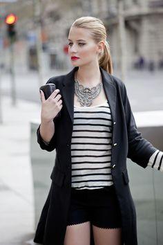 stripes, jewels, and blazer, never a bad idea