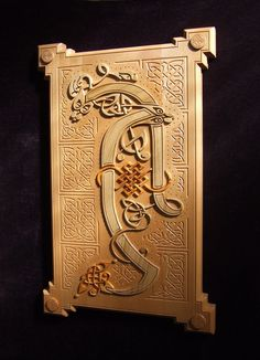 Book of Kells in Wood - Wall Hanging illuminated letter (A) masculine setting