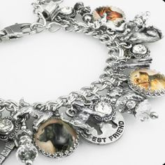 "My jewelry store features handmade jewelry, charm bracelets, necklaces, earrings, this wonderful ""For the Love of Dogs"" charm bracelet and over 400 more unique jewelry designs. My jewelry is created w"