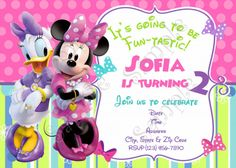 Minnie Mouse And Daisy Birthday Invitation Bowtique Part