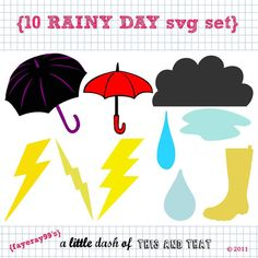 10 Rainy Day SVG DXF Set by fayeray99 on Etsy, $2.50