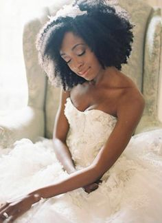 Natural hair bride. Beautiful