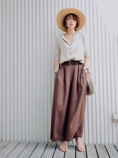 ちゃいろ🧡 ヘンリーネックT…gallardagalante パンツ…moussy サンダル…m Moussy, Midi Skirt, Clothes For Women, Skirts, Pants, How To Wear, Women's Clothing, Summer, Style