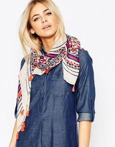 Image 1 ofOasis Floral Light Weight Scarf With Tassel Detail