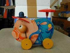 Vintage Pull Toy Pinky Pig Fisher Price No. 695 Works