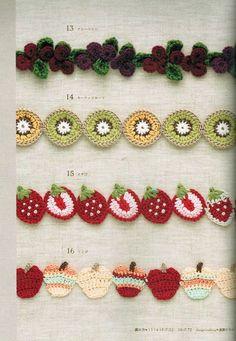 """-... GRÁFICOS CROCHET """": Puntilla Cereza, Kiwi, Fresa y Manzana a Crochet  mossitabellacrochet.blogspo.."""