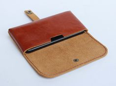 Tan Brown Leather iPhone5/5s case with card slot by BluePetalz