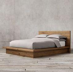 Reclaimed Russian Oak Platform Bed without Footboard Best Wood For Furniture, Diy Furniture Projects, Furniture Design, Diy Projects, Rustic Furniture, Furniture Makeover, Wood Bed Design, Vintage Bedroom Furniture, Cheap Furniture