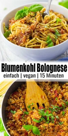 Vegane Bolognese aus Blumenkohl Vegan Bolognese from Cauliflower ? Sounds weird, but it's incredibly tasty and really healthy. And in addition, the vegan Bolognese is ready in only 15 minutes! Vegan Dinners, Vegetarian Meals, Vegan Recetas, Easy Dinner Recipes, Easy Meals, Dinner Ideas, Easy Recipes, Healthy Food Recipes, Healthy Vegetarian Recipes