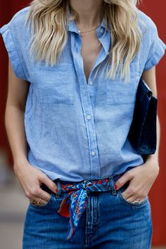 Short Sleeve Chambray & Loose Cropped Denim