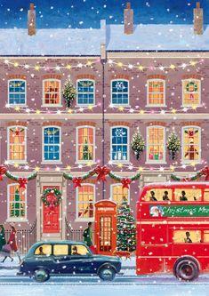 Christmas Scenes, Christmas Mood, Merry Little Christmas, All Things Christmas, Vintage Christmas, Xmas, London Christmas, Christmas Cards, Illustration Noel