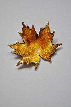 NORWAY Enamel Hroar Prydz XL Sterling Silver and Guilloche Enamel Maple Leaf Pin Scandinavian Pin