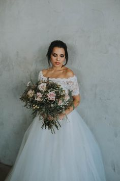 A vintage-rustic table, lovely off-the-shoulder Aria wedding dress, and playful dancing are what you'll find in this Los Angeles loft wedding inspiration.