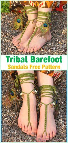 Crochet Tribal Barefoot Sandals Free Pattern - Crochet Women Barefoot Sandal Anklets Free Patterns