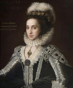 Alathea Talbot, Countess of Arundel and Surrey (c.1590–1654)  by British (English) School  Date painted: 1619 (though marked 1605 on the painting itself?)  Alethea, Countess of Arundel by Anthony Van Dyck, 1640 Nee Talbot, daughter of Gilbert Talbot, 7th Earl of Shrewsbury and Mary Cavendish. Bess of Hardwick's granddaughter. Married to Thomas Howard, 21st Earl of Arundel. (The Earl was Queen Elizabeth I's 2nd cousin, twice removed, descended from Anne Boleyn's uncle, the Duke of Norfolk.)
