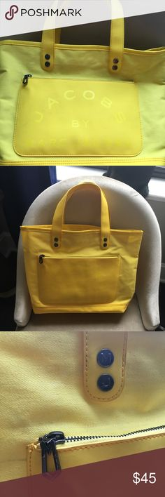 "👜Marc Jacobs large tote bag + free gift Authentic yellow Marc Jacobs tote bag. *Will also include the Marc Jacobs makeup set, see next listing for pics*👉🏻  17"" base width. Purchased at sample sale in SF at Fillmore store. Some scuff marks and smudge within the zippered pouch from the black price tag getting wet (see last pic) Marc Jacobs Bags Totes"