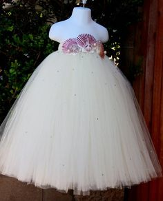 Beach Wedding Flower Girl Ivory Sea Shell Tutu Dress