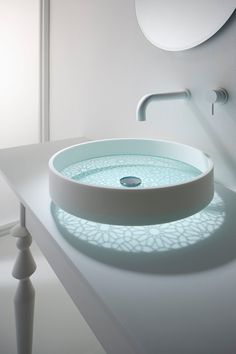 Bathroom Gallery: Staron Solid Surfaces by Samsung  Look at the beautiful pattern on the benchtop cast by the basin