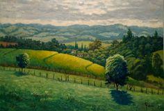 """Claudio Furlan - """"Canavial e serra"""" - Caçapava - SP. / Pintura ao ar livre - """"plein air painting""""."""