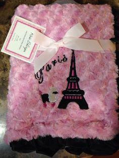 Baby Blanket Pink Sherpa #Minky Luxe #Paris #Nursery Black Satin Ruffle Nwt Fancy