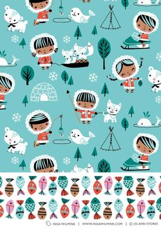 ✍ Design :✍: Color Pallete ✍ Inga Wilmink for Jo-Ann Stores - Eskimo fabric Kids Patterns, Fabric Patterns, Print Patterns, Pattern Ideas, Quirky Art, Pattern Wallpaper, Owl Wallpaper, Freelance Illustrator, Graphic Patterns