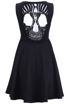 Skull Cut-out Black Dress #romwe.com