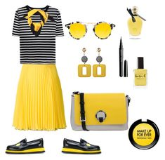 Bee time by valeria-coroianu on Polyvore featuring polyvore, fashion, style, T By Alexander Wang, Boutique Moschino, Joshua's, Pollini, Krewe, Gucci, MAKE UP FOR EVER, EB Florals, Lauren B. Beauty and clothing