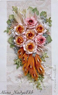 Картина панно рисунок Квиллинг Букет невесты Розы  Бумага Бумажные полосы Бусины фото 4